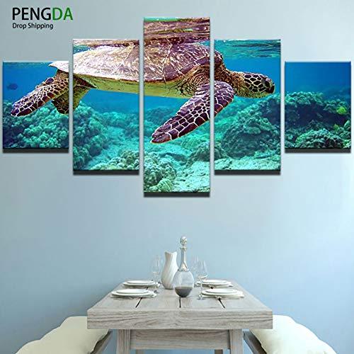 Gedruckt Rahmen Landschaft Modulare Bild Große 5 Panel Tiere Schildkröte Leinwand Malerei Für Schlafzimmer Wohnzimmer Hause