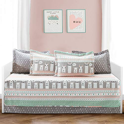 Lush Decor Pink-and-Turquoise Llama Striped 6-Piece Daybed Cover Bed Set