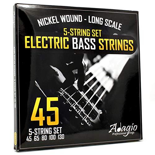 Adagio 2 SETS Pro 5-String Bass Guitar String Set 45-125 Regular Light...