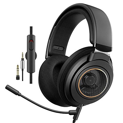 Philips SHP9600MB Wired Headphones with Microphone -Over-Ear Open-Back Headset, 50 mm Neodymium Drivers (SHP9600MB) - Black