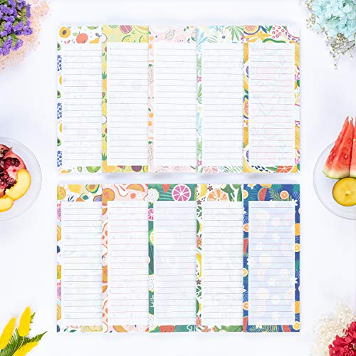 """Peach Tree Shade Magnetic Notepads, 10-Pack 60 Sheets Per Pad 3.5"""" x 9"""", for Fridge, Kitchen, Shopping, Grocery, To-Do List, Memo, Reminder, Note, Book, Stationery, (Fruitnotes Tropical Gems)"""
