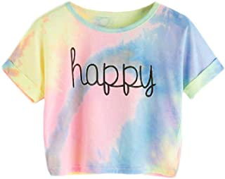 Impreso Tie Dye Imprimir Nudo Nudo Casual Niñas Camisetas Summer Cap Manga Colorblock Niños Casual Tees