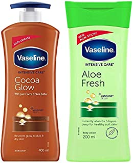Vaseline Intensive Care Cocoa Glow Dry Skin Body Lotion, 400 ml And Intensive Care Aloe Fresh Body Lotion, 200 ml