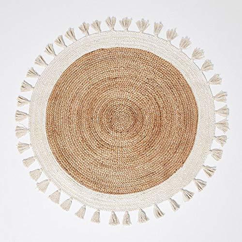Rangneel Fabrics Beautiful Hand Braided Jute & Cotton Round Shape Home Décor Carpet (5 x 5 Feet)