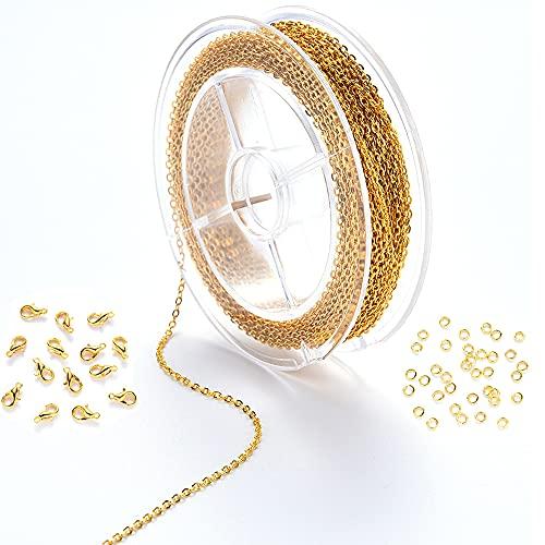 Chytaii Collar Cadena de Enlace Cadenas para Bisutería Cadenas de Collar para Hacer Joyas, con 20 Cierres de Langosta y 50 Anillos de Salto para Elaboración de Joyería, Oro o Plata