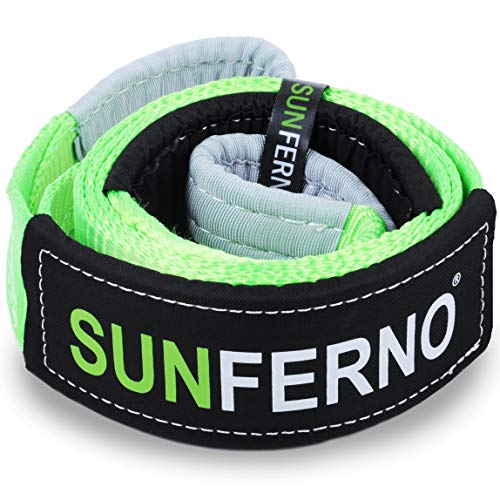 Sunferno Tree Saver Winch Strap 35,000 lbs Certified | Confidently Hook the Strap with your Winch | 3 inch x 8 Foot | Heavy Duty Emergency Off-Road Towing and Recovery Rope Accessory for 4x4 and Truck