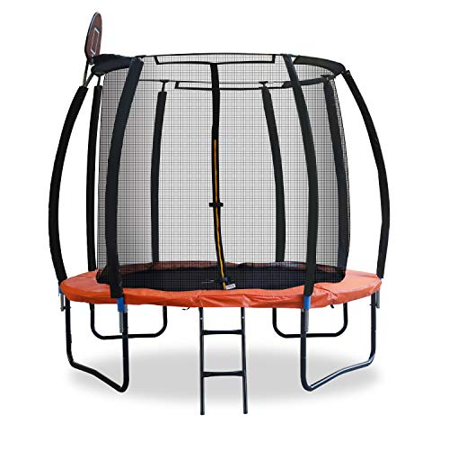 LYNSLIM Pumpkin 10FT Trampoline with Safety Enclosure Net,Outdoor Recreational Trampoline with Basketball Hoop Jumping Table for Kids Adults Family Exercise at Backyard Garden (10 ft)