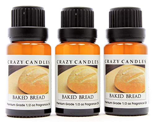 Crazy Candles Baked Bread (Made in USA) 3 Bottles 1/2 FL Oz Each (15ml) Premium Grade Scented Fragrance Oil