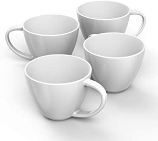 Francois et Mimi Jumbo Wide-Mouth Soup & Cereal Ceramic Coffee Mugs, 18 oz, Set of 4 (White)