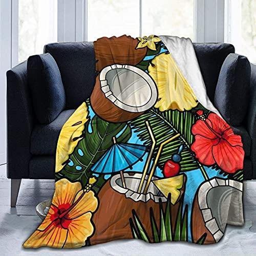 Manta de Lana súper Suave Manta cálida y cómoda Manta de Coco con Flores Amarillas, Adecuada para Habitaciones con Aire Acondicionado y Cambios de Temporada