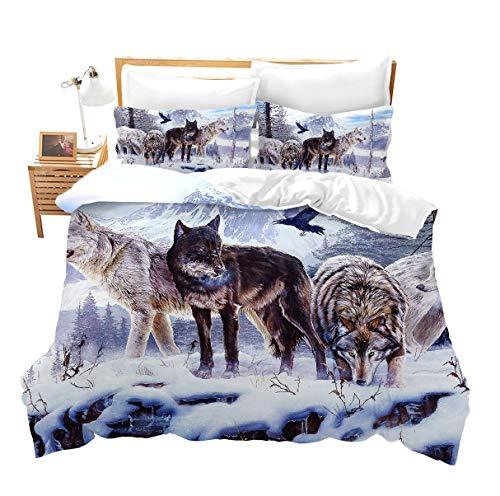 Erosebridal 3D Wolf Comforter Cover Full Kids Teen Duvet Cover Set Animal Theme Decor Bedspread Cover Snow Wolf Pattern Quilt Cover Wild Animal Printed Bedding for Adult Women Men