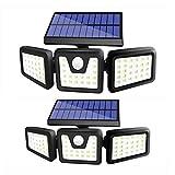 Oumaiga Wireless LED Solar Motion Sensor Lights Outdoor,3 Head Motion Sensor Lights,Lights Outdoor Spotlights 360°,IP65 Waterproof, Illumination for Yard Patio Garage Entryway Front Door (2 Pack)
