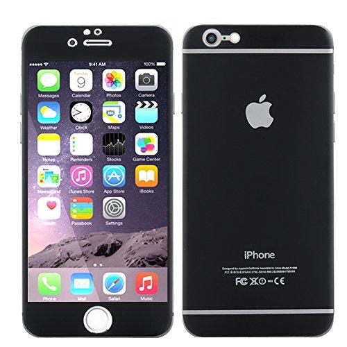 4,7 Pulgadas-Carcasa Protectora para iPhone 6 Cristal Templado, índice 9H/Trasera de aleación de Titanio, Resistente a los Golpes, a la Rotura y Negro (Importado)