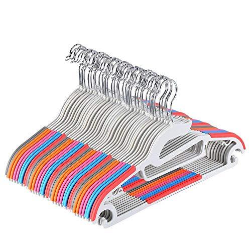 Yoassi Set di Grucce Appendiabiti Standard con Gancio per Adulti/Grucce Antideformazione Antiscivolo in ABS Plastica per Completi Abiti Pantaloni Vestiti Cravatta (40pcs Multicolore)