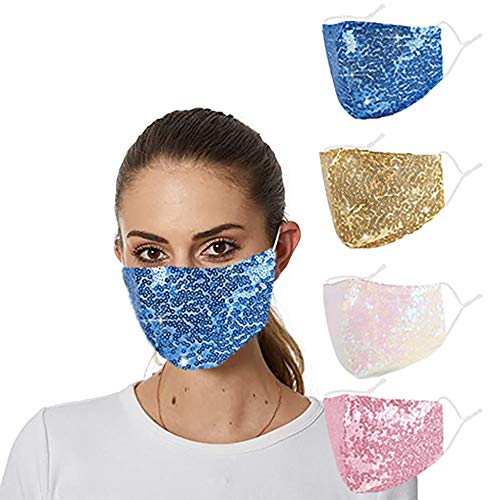 Glittery Bling Rhinestone Face Mask Cloth Desigenr Breathable Fabric Adjustable Washable Cotton Sparkle Crystal Bedazzled Pink Diamond Fancy Pretty Jeweled Stylish Sequin for Women Men Adult(yellow)