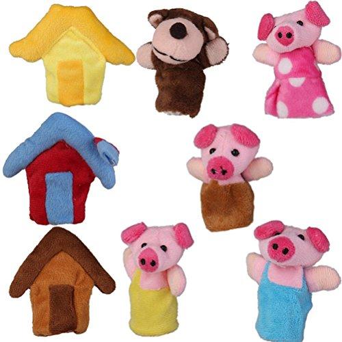 Rosenice Marionetas de dedo de animales de peluche, Juego para tres cerditos, 8 piezas
