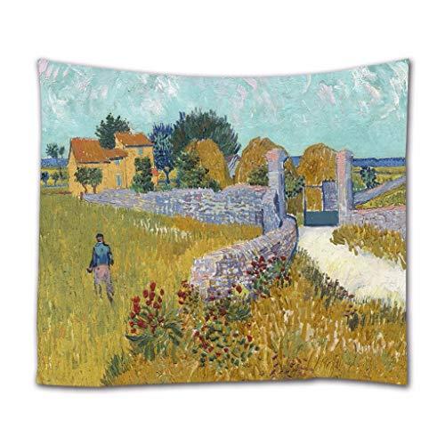 A.Monamour Wandteppiche Bauernhaus In Der Provence Von Vincent Van Gogh Ölgemälde Kunstdruck Boho Hippie Mandala Gobelin Wandbehänge Vorhang Tagesdecke Strandtuch Tischdecke 203x153cm