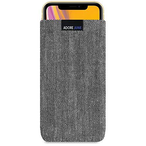 Adore June Business Tasche für Apple iPhone XR Handytasche aus charakteristischem Fischgrat Stoff - Grau/Schwarz | Schutztasche Zubehör mit Bildschirm Reinigungs-Effekt | Made in Europe