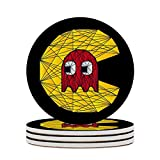Round Ceramic Stone Coaster Set of 4 Pacman Ghost Polygon Stainglass Round Coaster Drink Absorption Coaster with Cork Base (3.9 inches)