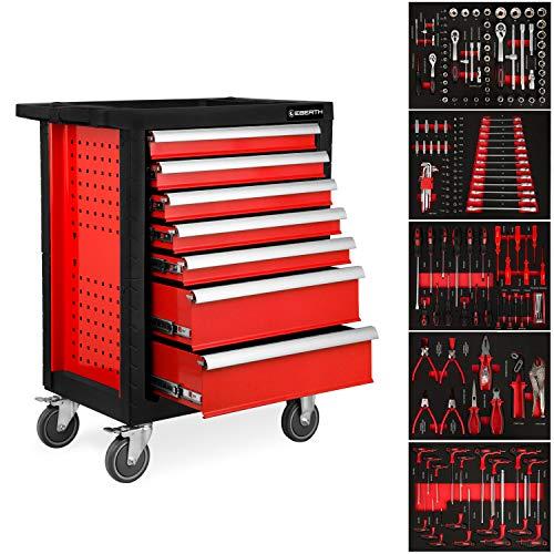 EBERTH Werkstattwagen rot inkl. Werkzeug (7 kugelgelagerte Schubfächer, 5 Schubladen mit Werkzeug bestückt, abschließbar, 2 Lenkrollen, Feststellbremse, pulverbeschichtet)