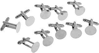 20 Unids 8 mm en Blanco Redondo Cabochon Cuff Link Configuraci/ón Bases DIY Formal Gemelos