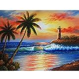 Zariocy DIY 5D Diamantes Pintura Kits Paisaje Playa Oceano, Diamond Painting Completo Árbol de Coco...