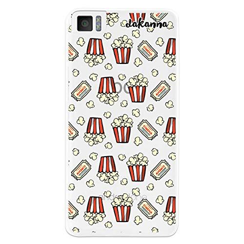 dakanna Kompatibel mit [Bq Aquaris M4.5 - A4.5] Flexible Silikon-Handy-Hülle [Transparenter Hintergr&] Popcornmuster & Vintage Kinokarten Design, TPU Hülle Cover Schutzhülle für Dein Smartphone