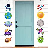 CY2SIDE 10PCS Outer Space Hanging Porch Sign, Astronaut Door Banners, Galaxy Door Sign Cutouts, Wall Decoration Sign, Space Birthday Party Decors, Banners for Home Decoration, Party Supplies for Boys