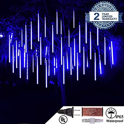Yopin LED Meteor Shower Rain Lights, Waterproof Drop Icicle Snow Falling Raindrop 50CM 10 Tube Cascading Lights for Wedding Xmas Home Decor Party Holiday