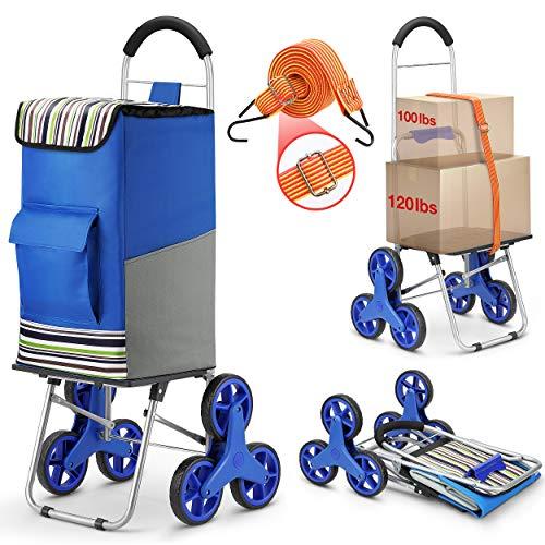 JPROYI キャリーカート ショッピングカート 買い物カート ハンドキャリー 大容量75L ショッピングバッグ 折り畳み 敬老の日 ブルー 贈り物:荷台用 ゴム紐