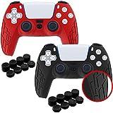 2 Protections en Silicone pour Manette PS5 - Accessoire de protection pour PS5 - Conception antidérapante compatible Console PS5 - Protège la Manette Playstation 5 des Chocs / Rayures (Rouge/Noir)