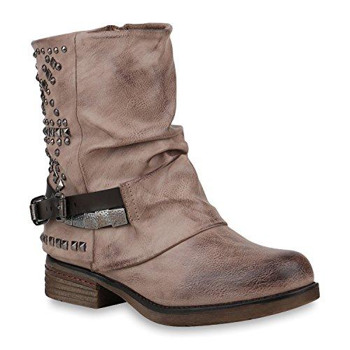 Damen Schuhe Stiefeletten Biker Boots Warm Gefütterte Stiefel 152987 Khaki Nieten Carlet 40 Flandell