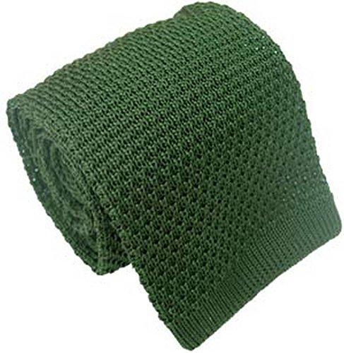 Une cravate en soie tricotée verte Michelsons