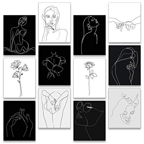 12 Pieces Minimalist Line Art Prints Abstract Woman Aesthetic Poster Unframed Woman Minimal Line Wall Decor 8 x 10 Inch Women and Flower Canvas Line Art Prints Black and White Art Drawing for Home