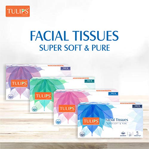 Tulips Facial Dry Tissue Paper, Super Soft, Super Absorbent & 100% Pure, 2Ply x 100 Pulls (Pack of 4)