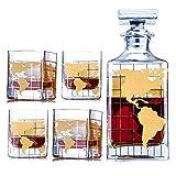 Whiskey Dekanter Sets Globus Dekanter für Alkohol - Silber Karte geätzt Globus Dekanter für Männer - Personalisiertes Geschenk-Set mit 4 Gläsern für Likör, Scotch, Bourbon, Brandy, Wodka (Gold)
