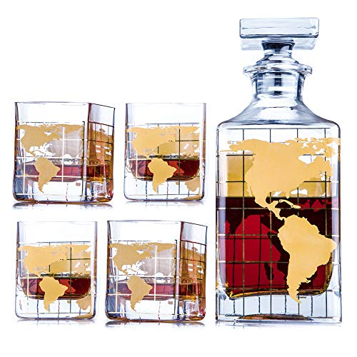 Whiskey Decanter Sets Globe Decanter for Alcohol 28 oz by Kemstood – GOLD MAP Etched Globe Decanter for Men and Women – Personalized GIFT Set with 4 Glasses for Liquor, Scotch, Bourbon, Brandy, Vodka