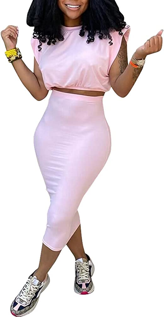 Women Sexy 2 Piece Dress Outfits Sleeveless Padded Crop Tops Bodycon Pencil Skirts Sets Party Clubwear