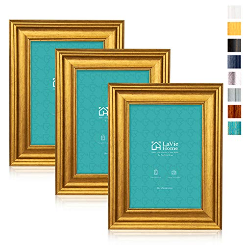 LaVie Home 5x7 Picture Frames (3 Pack, Gold) Photo Frame Set with High Definition Glass for Wall Mount & Table Top Display