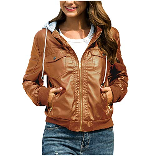 GOKOMO Damen Jacke Kapuze Abnehmbarer Reißverschluss Kurze Lederjacke Top BraunFrauen nehmen Lederjacke-entfernbare Reißverschluss-Kappen mit Kapuze warme Kurze Mäntel Outwear ab(Braun,Small)