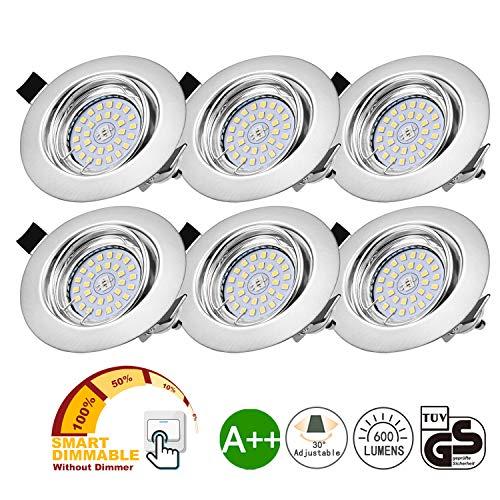 Bojim LED Einbaustrahler dimmbar GU10 6er Set ohne Dimmer 6W Warmweiß 2800K schwenkbar Einbauleuchten 600LM mit 82RA als CRI rund 230v LED Spot IP20 Einbaulampen 120° Abstrahlwinkel Einbauspots 68mm