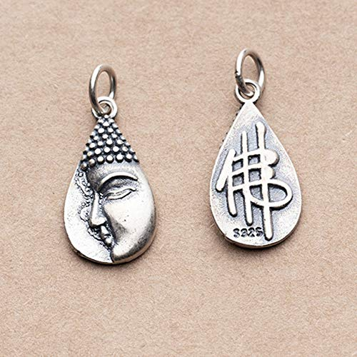 GZMUS S925 Thai Silver Buddha Character Amulet Charm Pendant Bracelet Feng Shui Chinese Bracelet for Handmade DIY Pendant Crafting Jewelry Making Accessories Necklaces (2Pcs Set),S925