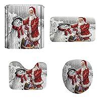 Tickas クリスマス雪だるまサンタ柄浴室4点3Dデジタル印刷多色防水浴室4点