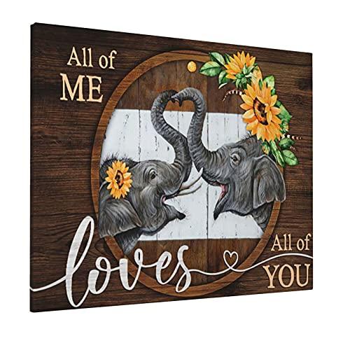 Lienzo decorativo de girasol para pared, diseño de elefante, animar a la pintura, decoración del hogar para sala de estar, comedor, dormitorio, cocina, baño, oficina, 20 x 30 cm, sin marco