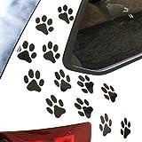 Finest Folia 12er Set Hundepfoten je 6x6 cm Pfoten Pfötchen Hund Katze Aufkleber Sticker für Auto Motorrad Wand Laptop Möbel (K015 Schwarz Matt)