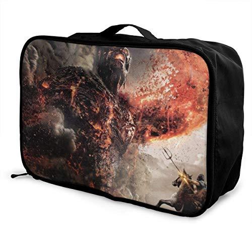 Wrath Titans Travel Lage Reisetasche Leichter Koffer Tragbare Taschen für Frauen Männer Kinder Wasserdicht Große Bapa Caity