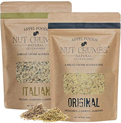 Appel Foods - Nut Crumbs - Bread Crumb Alternative - Gluten Free - Sugar Free - Low Carb - Low Sodium - Raw, Premium Nuts - Italian/Original 2pk