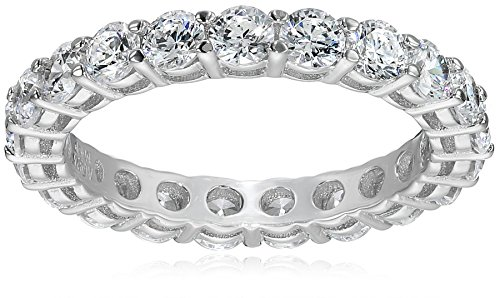 Platinum-Plated Sterling Silver All-Around Band Ring set with Round Swarovski Zirconia (2 cttw), Size 6