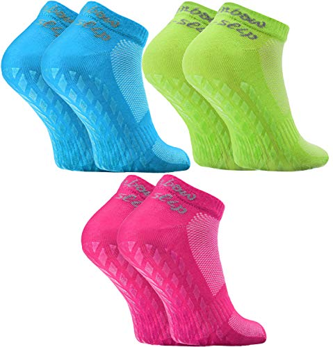 Rainbow Socks - Damen Herren Quarter Sport Socken ABS - 3 Paar - Grün Fuchsie Türkis - Größen EU 39-41