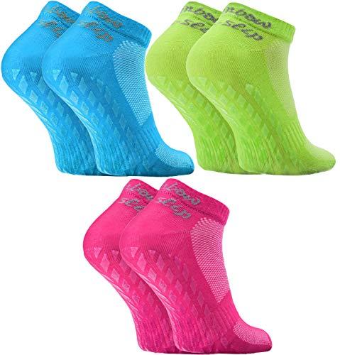 Rainbow Socks - Hombre Mujer Calcetines Deporte ABS - 3 Pares - Turquesa Fucsia Verde - Talla 39-41